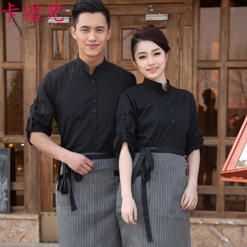 Hotel work clothes autumn and winter clothes Internet Cafe Club Western Restaurant hot pot restaurant tea house catering staff long sleeve short sleeve