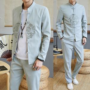 中山装唐装汉服中国风套装男伴郎服中式古风男装古装青年民族服装