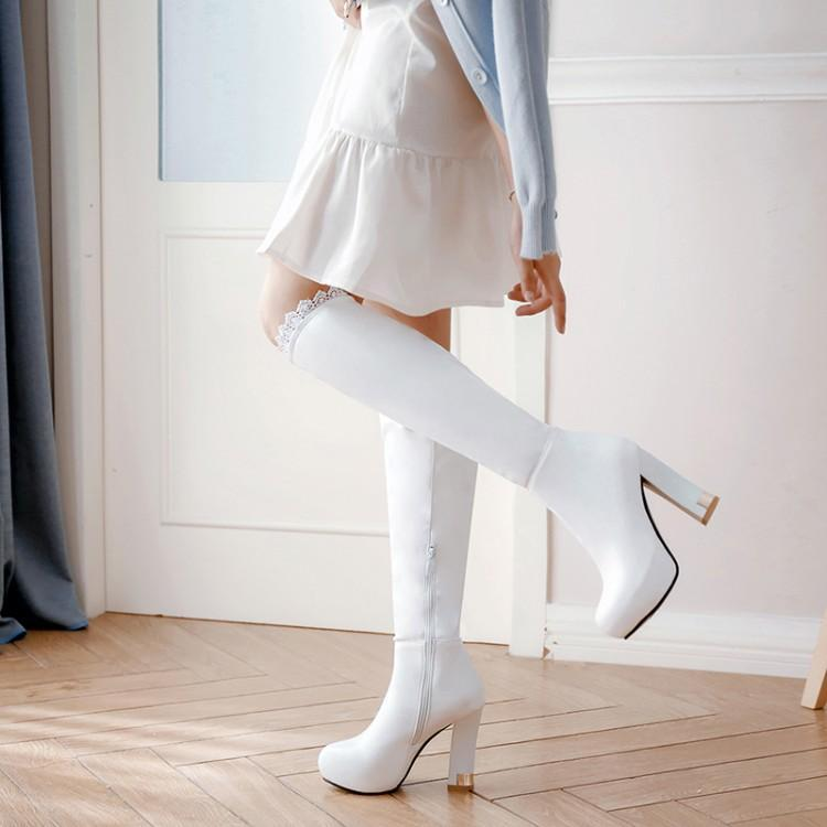 Long shoes new white long boots women's knee-length boots winter small thick heel length