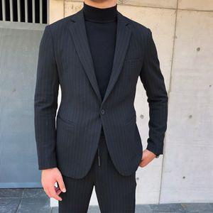 鹿三先生英伦风竖条纹修身西服两件套男装秋季通勤小西装套装男潮