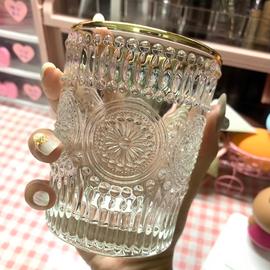 ins化妆刷收纳筒玻璃金边美妆刷透明果汁奶啤酒杯桌面北欧式浮雕