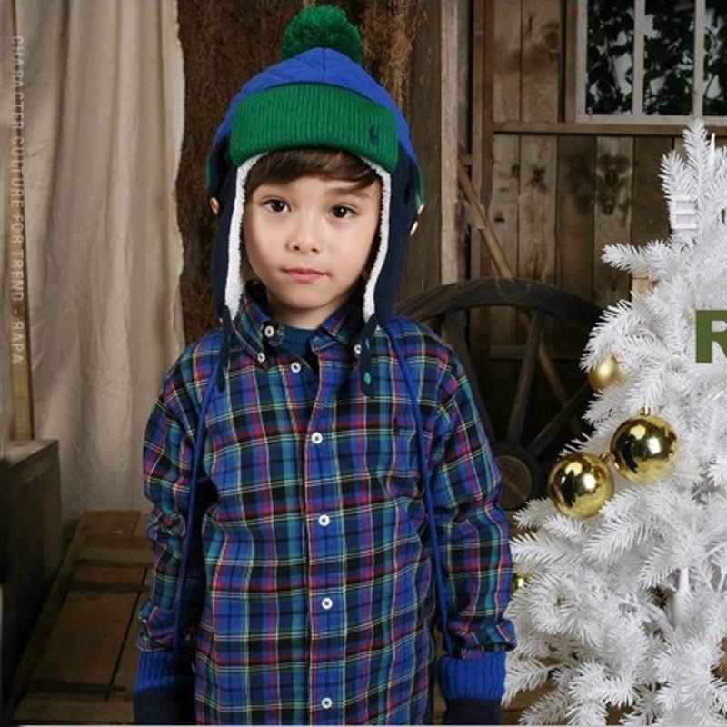 Электронной почты Кореи дети шляпа мальчики осень/зима шапка шлем головы шляпу Lei feng и бархат