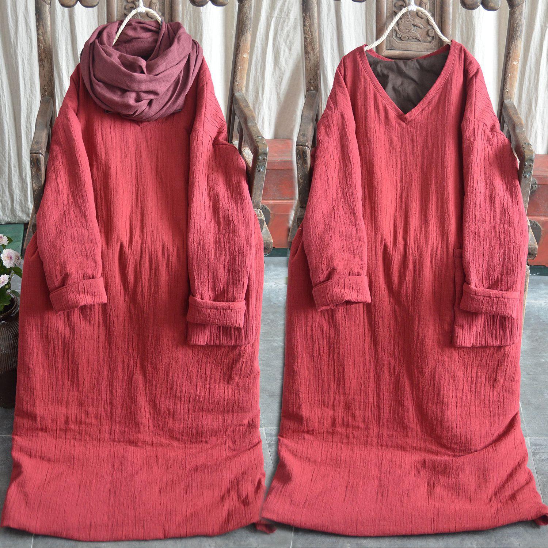 那年布语原创棉麻女装文艺棉袍长棉袄冬季壹旧菊家左岸风格棉衣长