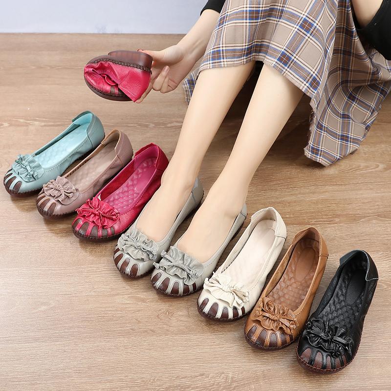 真皮軟底女鞋舒適復古花朵牛筋平底閏月媽媽鞋夏季民族風鏤空單鞋