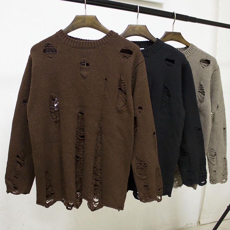 Ace small fresh autumn couple broken hole sweater men and women Han banchao round neck Pullover loose sweater coat man
