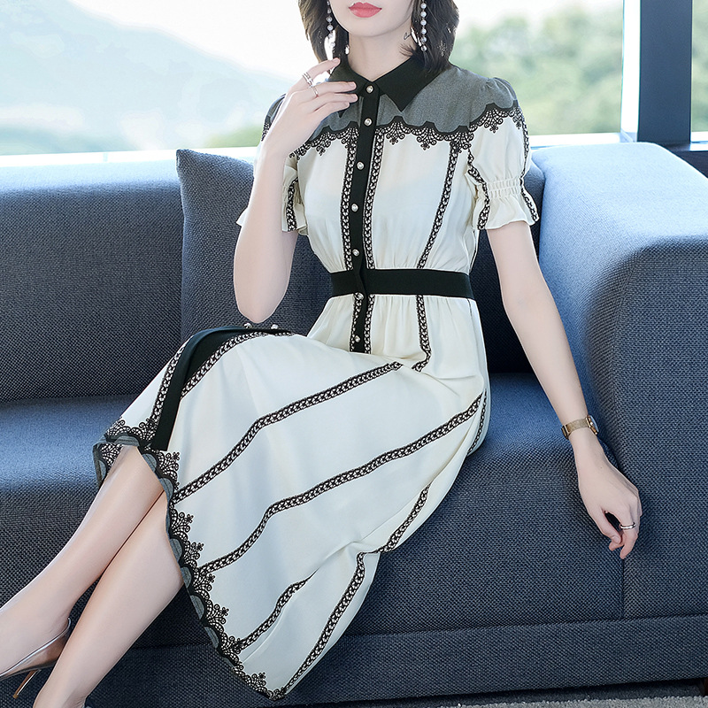 Summer 2020 new fashion lady striped shirt skirt womens middle long thin foreign style Lantern Sleeve Dress