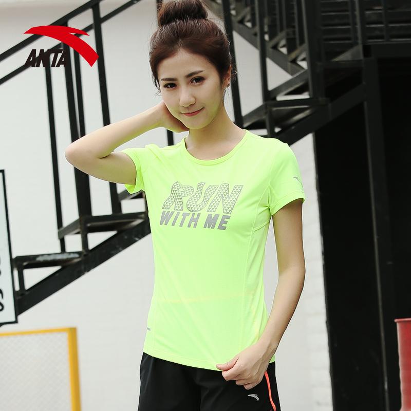 安踏T恤短袖女子 2017 圓領速幹透氣跑步 上衣16625155