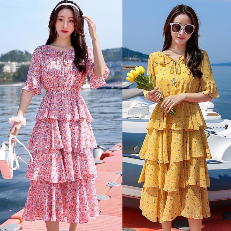 Fairy Dress Chiffon Dress 2021 summer new sweet cake skirt floral skirt medium length skirt with Ruffle Skirt