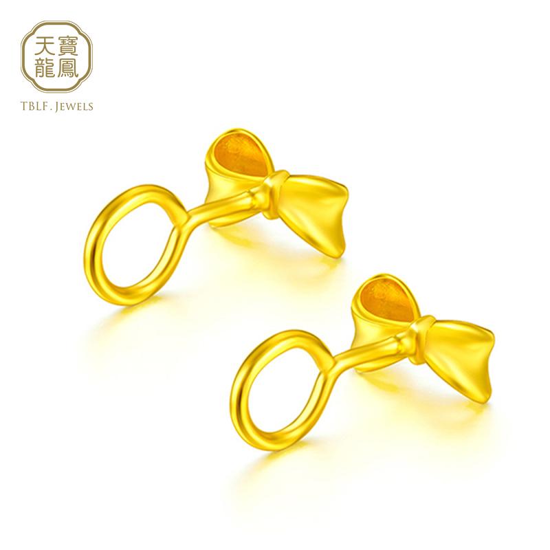 Tianbao Dragon Phoenix Gold Earrings Gold Earrings 999 gold bow earrings for women