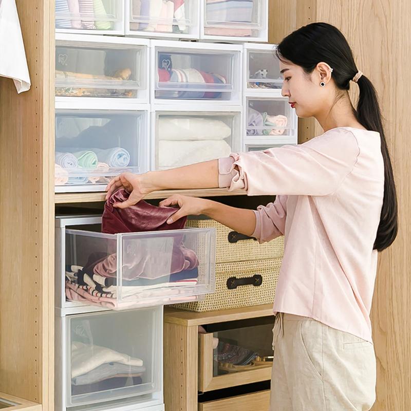 愛麗思IRIS 可疊加深型收納抽屜整理箱組合收納盒BC-500D收納箱子