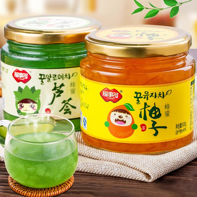 ^~送杯勺^~福事多蜂蜜柚子茶500g蘆薈茶500g韓國風味水果茶衝飲品