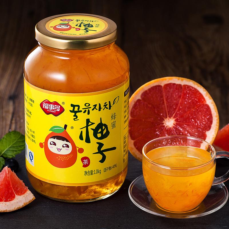 ^~29.9元送木勺^~福事多蜂蜜柚子茶1kg 韓國風味蜜煉水果茶醬衝飲品