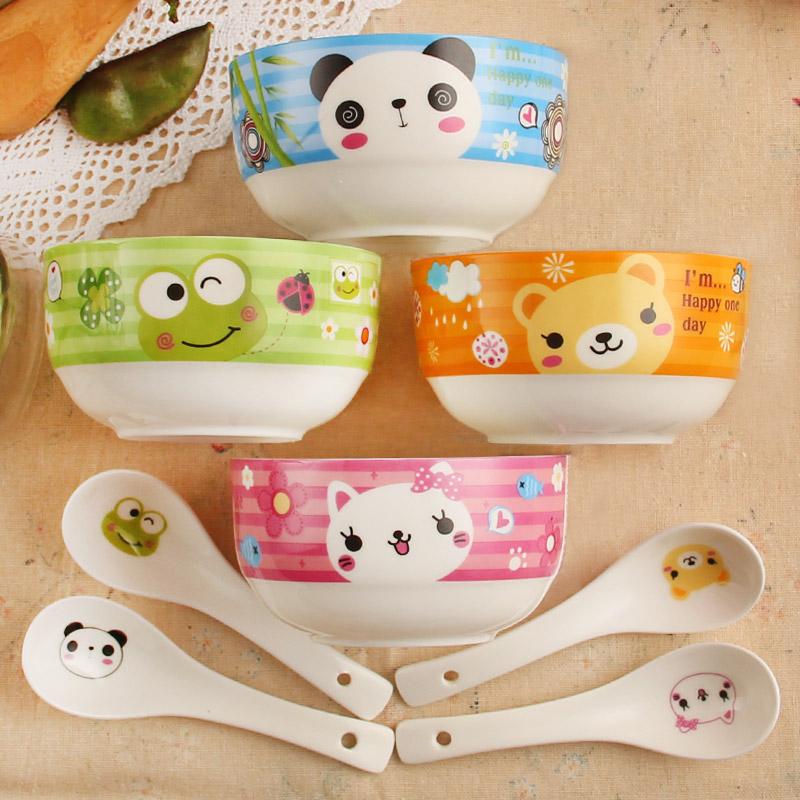 可愛萌係卡通碗套裝 陶瓷碗米飯碗韓式骨瓷碗陶瓷餐具套裝碗勺