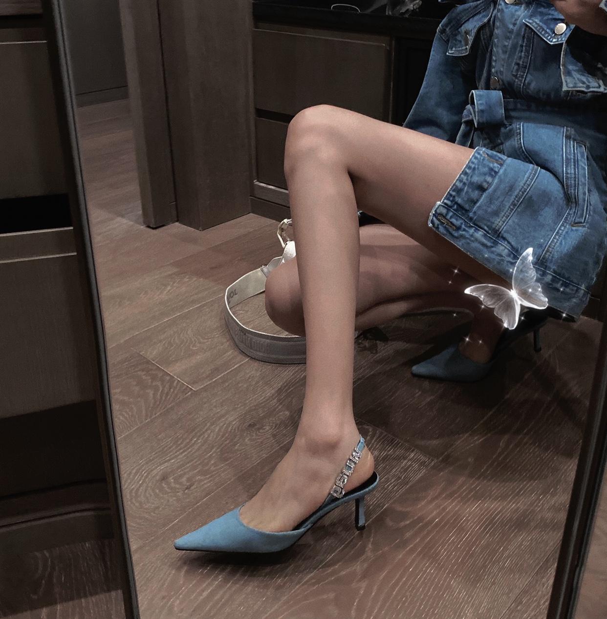 IN MIMIFACE 高跟鞋凉鞋 2020年新款尖头一字带牛仔布包头细跟女