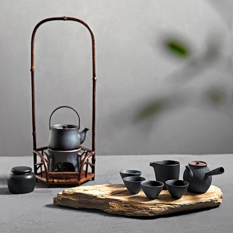 鐵釉茶具套裝 整套功夫粗陶日式側把壺茶壺茶杯陶瓷紫砂紅茶家用