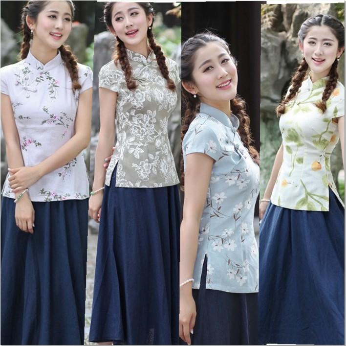 2018新款夏装复古民族风唐装 改良时尚棉麻套装 文艺旗袍女装上衣