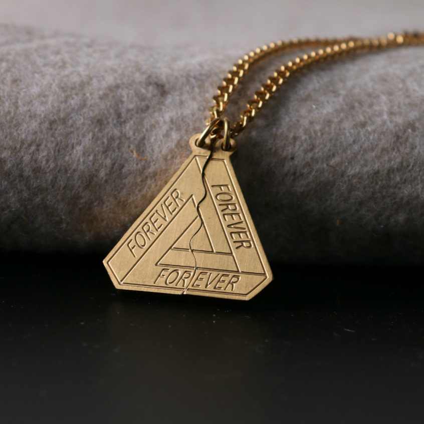 18SS FOREVER BEST FRIENDS 三角分裂刻字母潮牌简约长款项链男女