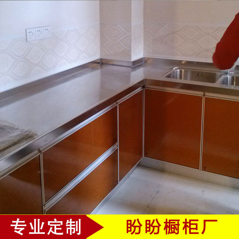 Suzhou 304 stainless steel kitchen, counter top, overall cabinet, customized kitchen, cabinet decoration, crystal steel door, customized