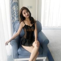 性趣 2018新款性感吊带连衣短裙蕾丝超短透明夜店酒吧KTV连体裙装