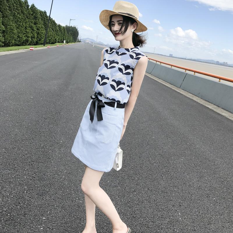 2018夏装新款韩版女装印花雪纺连衣裙无袖短裙气质套装裙两件套潮