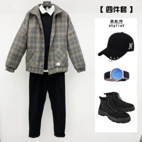【套装】冬季男士夹克外套毛呢短款风衣帅气加厚呢子上衣潮男学生