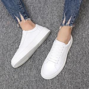 小白鞋男夏季透气韩版百搭真皮潮流白色板鞋男士白鞋男鞋子内增高