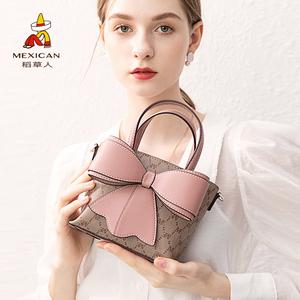 稻草人女包2021新款夏季斜挎包链条手机包包时尚蝴蝶结手提包小包