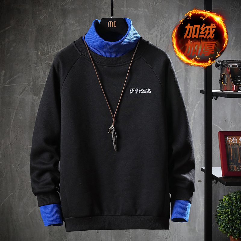 Autumn and winter mens Plush high collar sweater Lapel thickened long sleeve T-shirt with warm underlay
