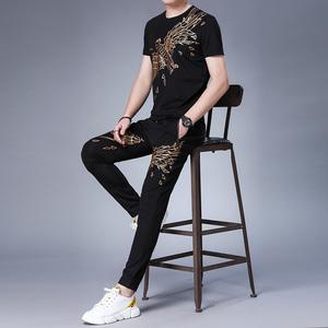 夏季新款休闲时尚短袖套装青年男百搭潮流T恤束脚卫裤8059LSXP153,男装休闲套装,钱塘6025