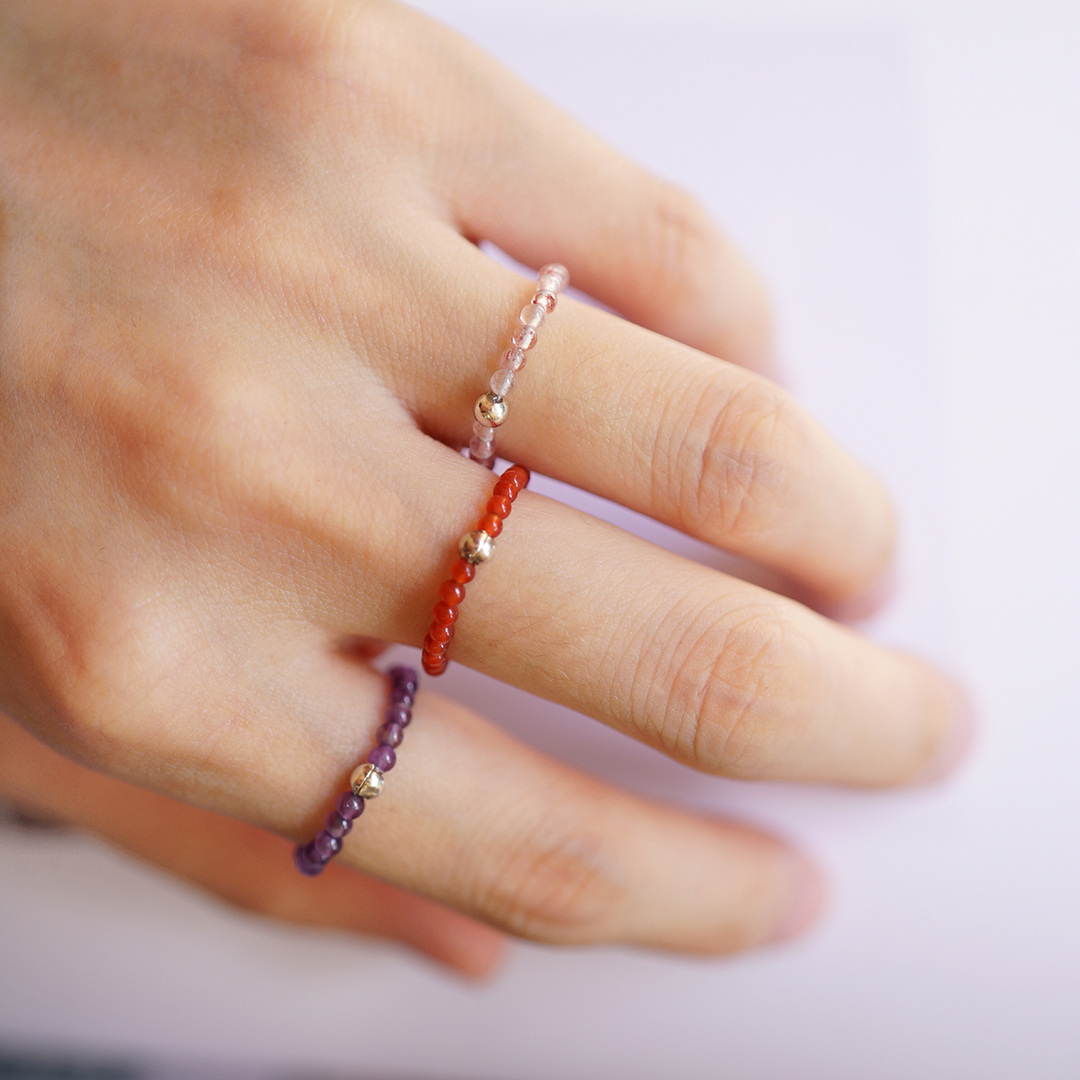 Ultra fine energy ring vishi Weishi S925 silver seven pulse healing crystal natural strawberry crystal agate bead string