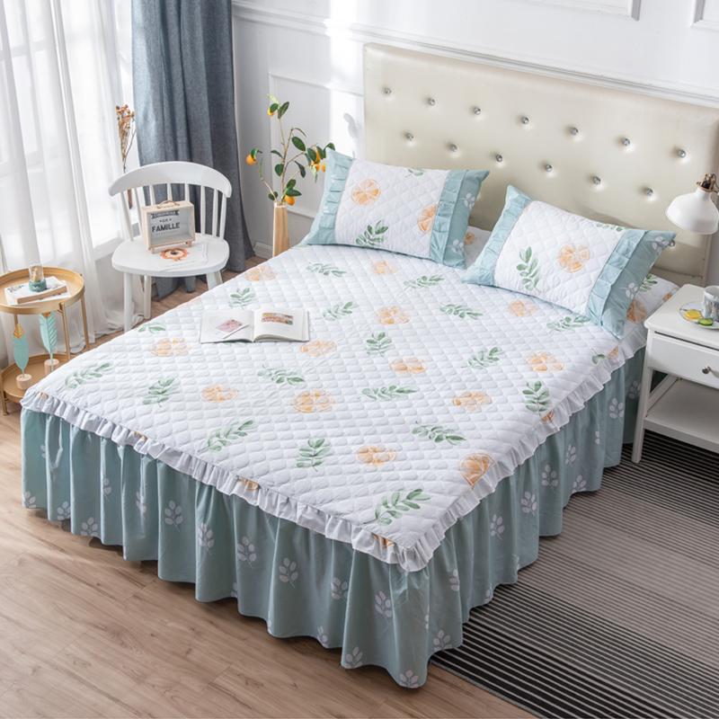 夹棉加厚全棉床裙式床罩纯棉单件床单防滑床套床头罩1.8m1.5米1.2