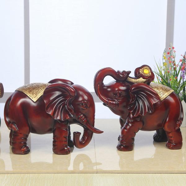 欧式招财大象摆件客厅家居饰品 风水创意象一对乔迁新居结婚礼物