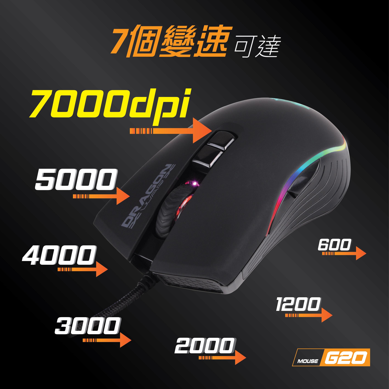 RAGNNWAR龙战DragonWar G20雷神记忆LOLCF电竞游戏有线鼠标宏新品,可领取3元天猫优惠券