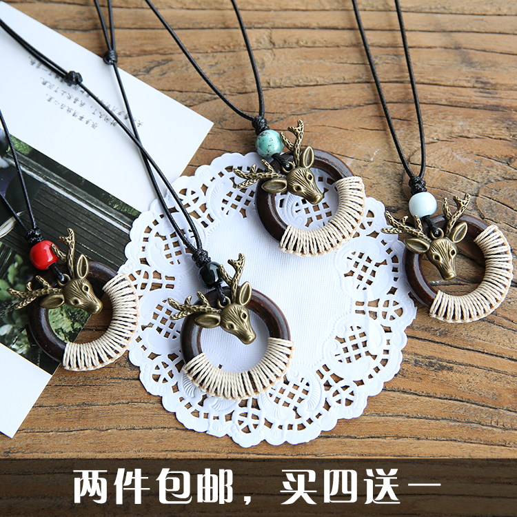 Ethnic style sweater chain deer ceramic Necklace female couple retro ceramic jewelry birthday gift clothing accessories