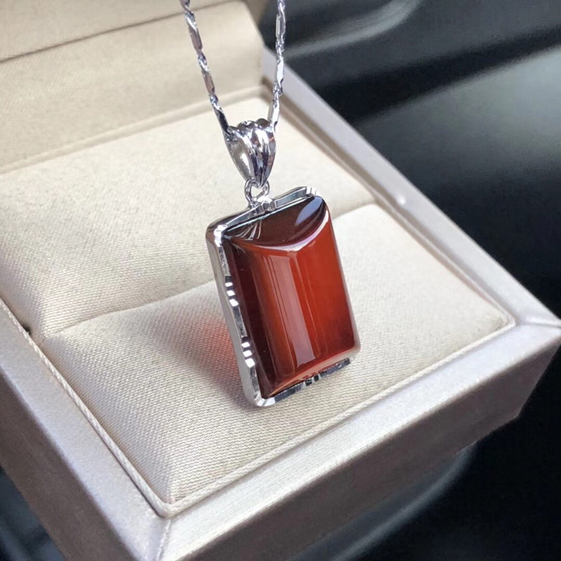 Natural Garnet Pendant Sterling Silver Necklace female square wine red pendant Ruby crystal pendant for re inspection