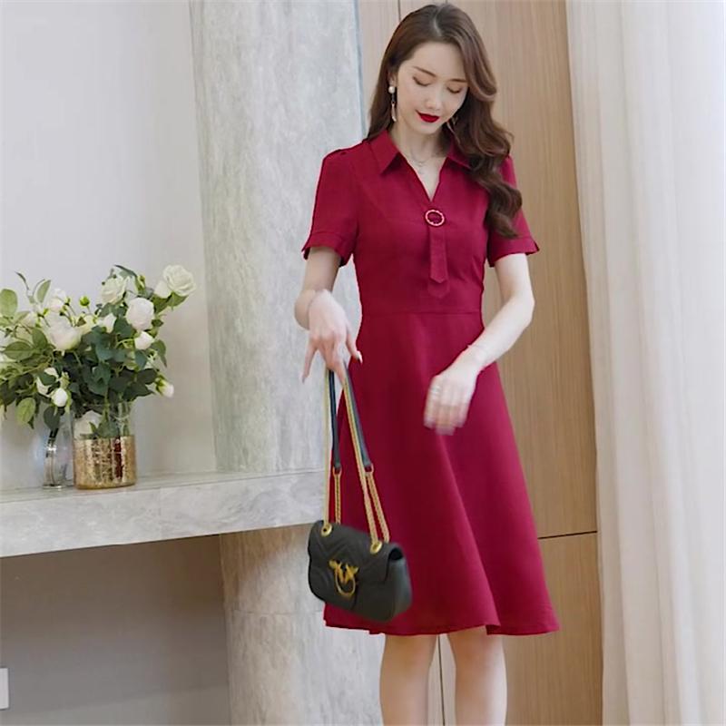 连衣裙女装2020年夏新款气质小个子法式纯色短袖小众衬衫a字裙伞