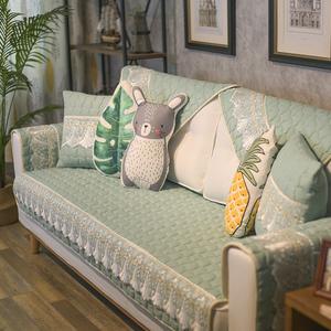 沙发垫四季防滑新中式皮罩巾坐垫子