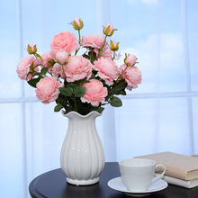 Artificial flower peony flower fake flower living room decoration flower bud flower plastic flower simulation flower western small peony