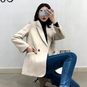 毛呢西装外套女短款秋冬新款韩版chic宽松加厚休闲白色呢子小西服