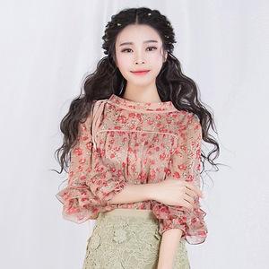 春装2019款女上衣碎花宽松时尚气质七分袖雪纺衫 黄丝蕊
