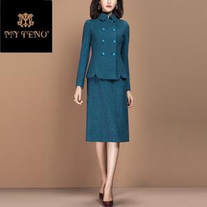 蓝色领双秋冬女套装排扣洋气两件套娃娃格内搭裙千鸟毛呢2019新款