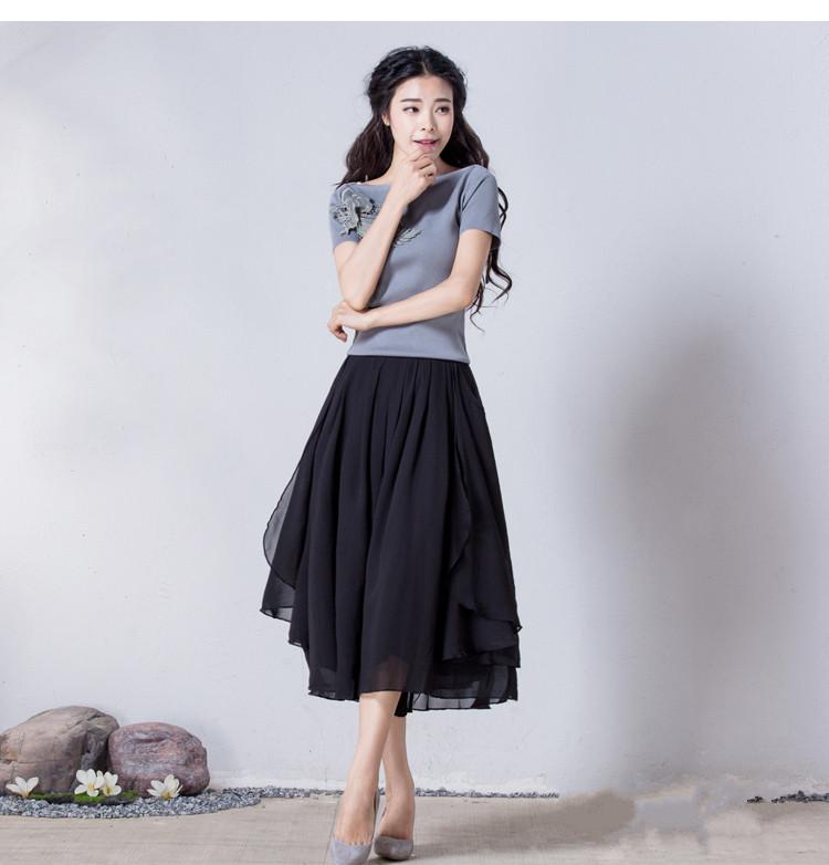 烟花2018春夏新品女装气质雪纺显瘦裙裤七分阔腿裤风影