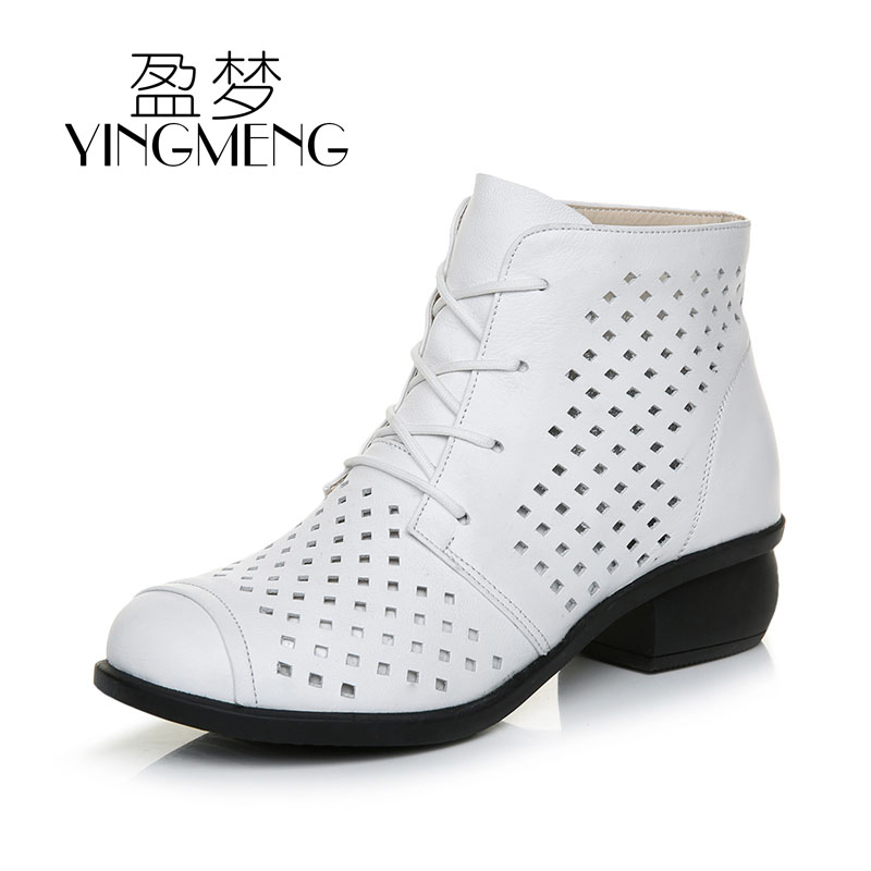 Soft soled leather women's boots, middle heel, spring and autumn short boots, hollow out, summer versatile, thick heel, Martin boots, white mother's cool boots