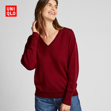Women's Worsted Merino loose V-neck T-shirt (long sleeve) 421710 UNIQLO