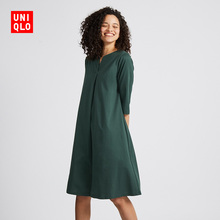 Women's Mercerized Cotton Open-necked Dresses (Five-Dimensional Sleeves) UNIQLO 418315 Uniqlo