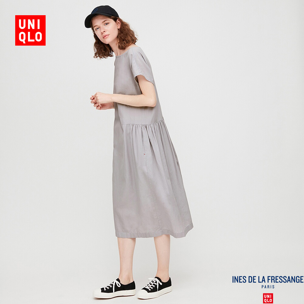 Designer cooperation women's cotton and linen blended Pleated Dress (short sleeve) 423195 UNIQLO