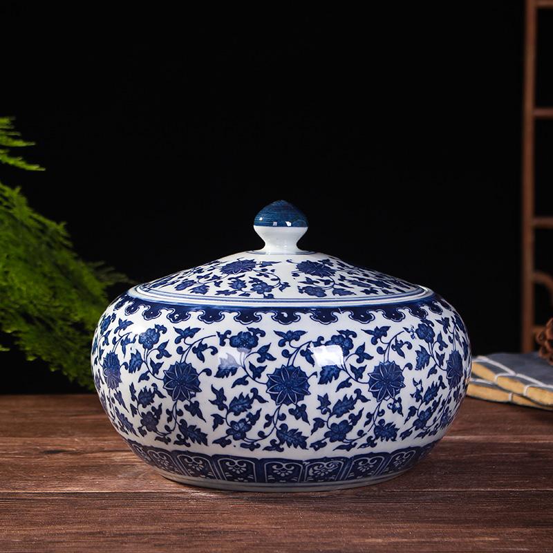 景德镇陶瓷米缸米桶家用带盖招财防潮密封10斤20斤零食杂粮储物罐(用32元券)
