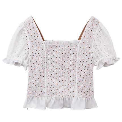 ◆srk短款高腰女夏黑色复古娃娃衫