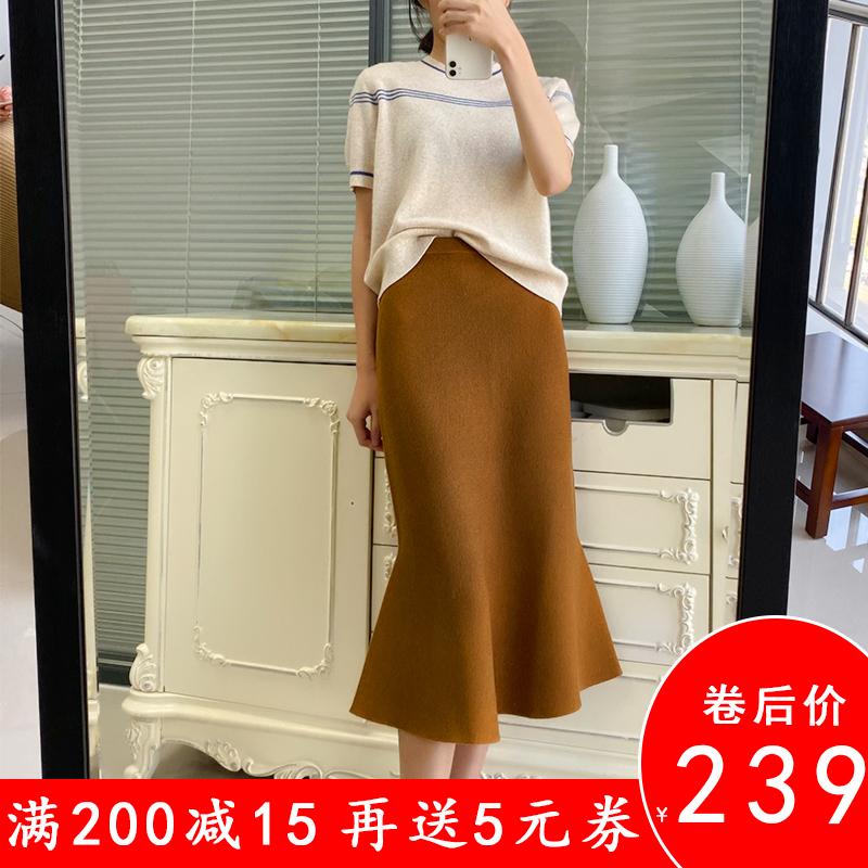 th家半裙春季宽松针织鱼尾半身裙包臀裙时髦慵懒羊毛混纺气质显瘦