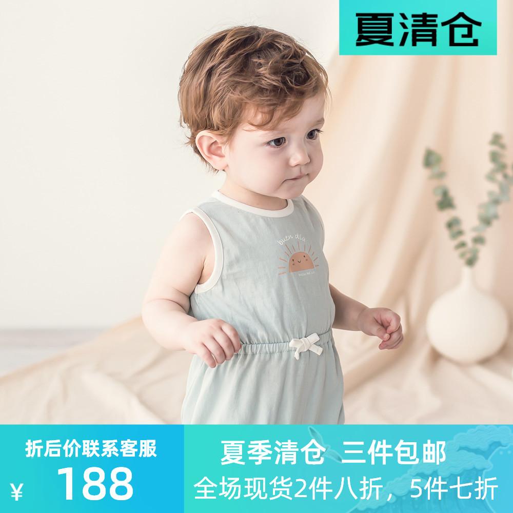 韩国KIDS CLARA进口夏季男女宝宝无袖连身衣婴幼儿爬服棉制哈衣